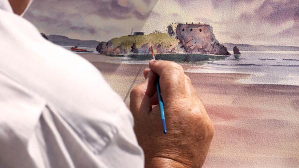 Akvarellmåleri, eftermiddag