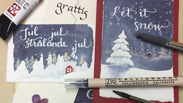 Kalligrafi/akvarellfärg - julkort och vintermotiv